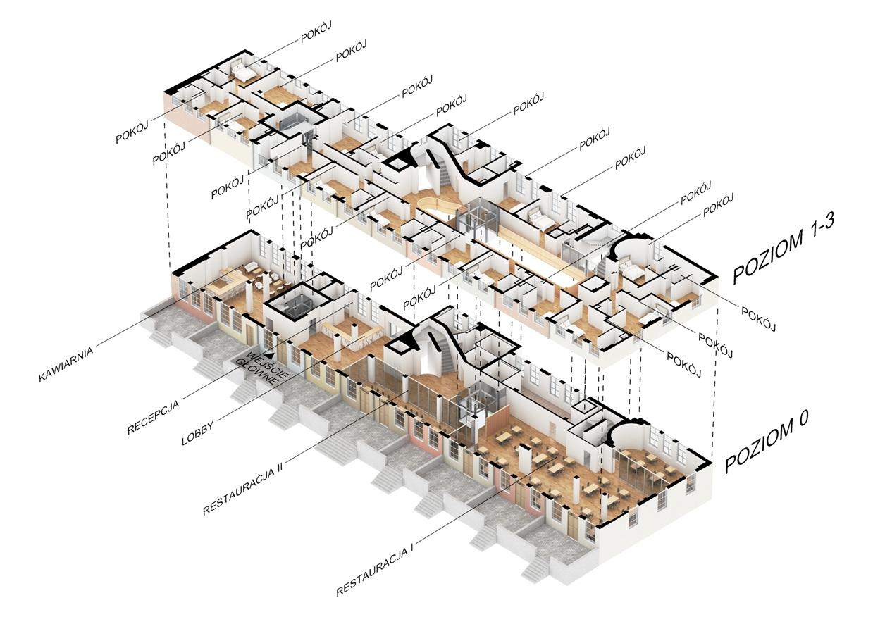 Model wnętrza kamienic na Długim Targu 1-10