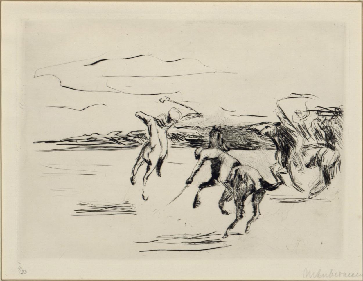 Max Liebermann, Gra w polo, 1912, sucha igła, papier czerpany, żeberkowy, 18,1 x 23,3 cm