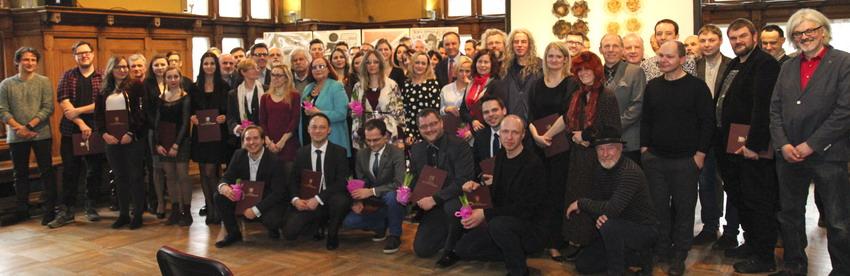 Laureaci stypendiów dla twórców kultury w 2017 r. Fot. Sławomir Lewandowski