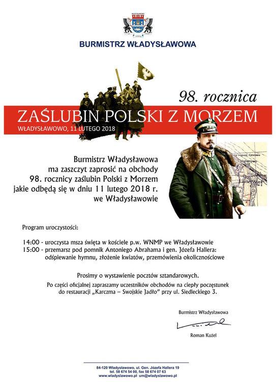 98. rocznica zaślubin Polski z morzem we Władysławowie - plakat