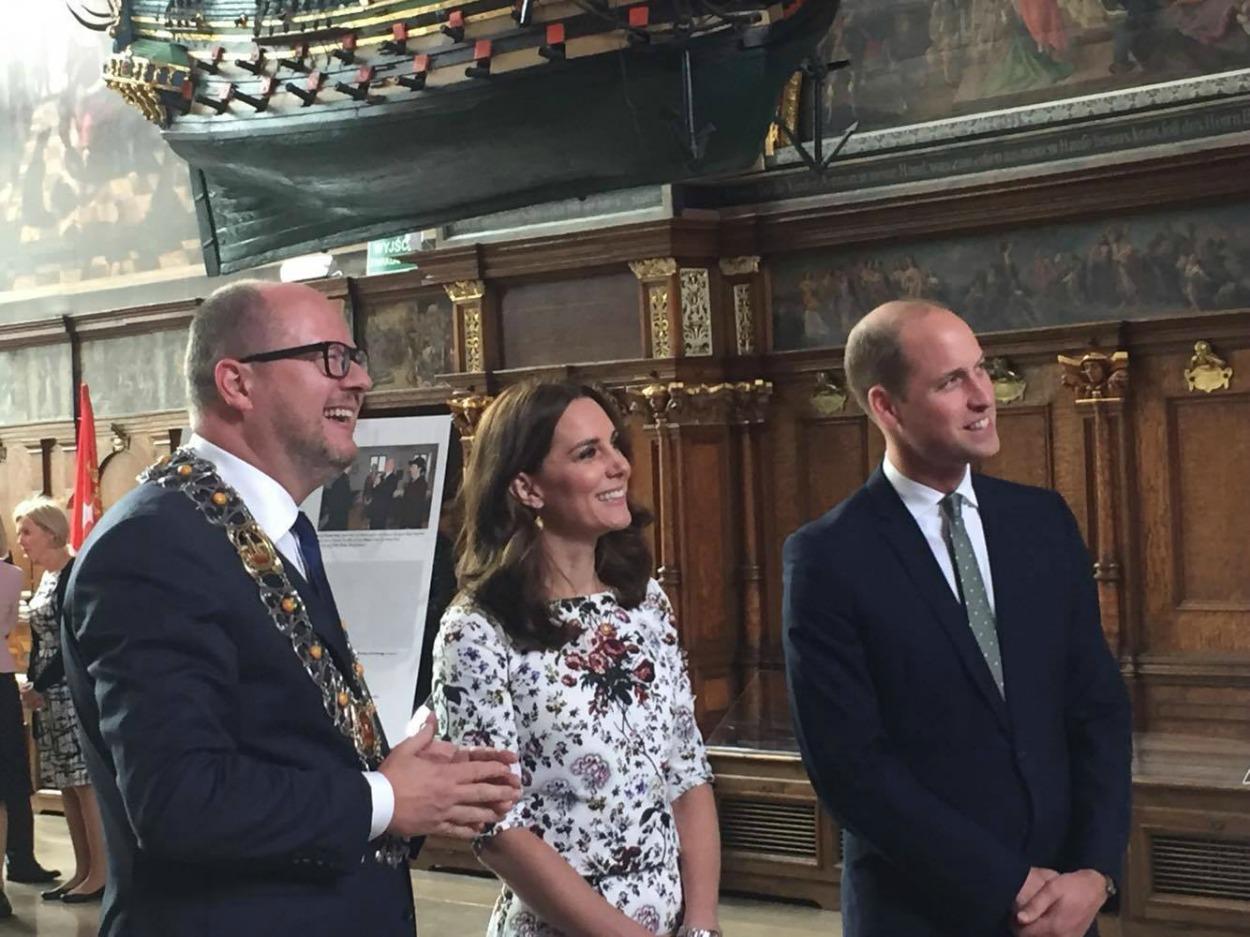 Księżna Kate i książę William z prezydentem Pawłem Adamowiczem