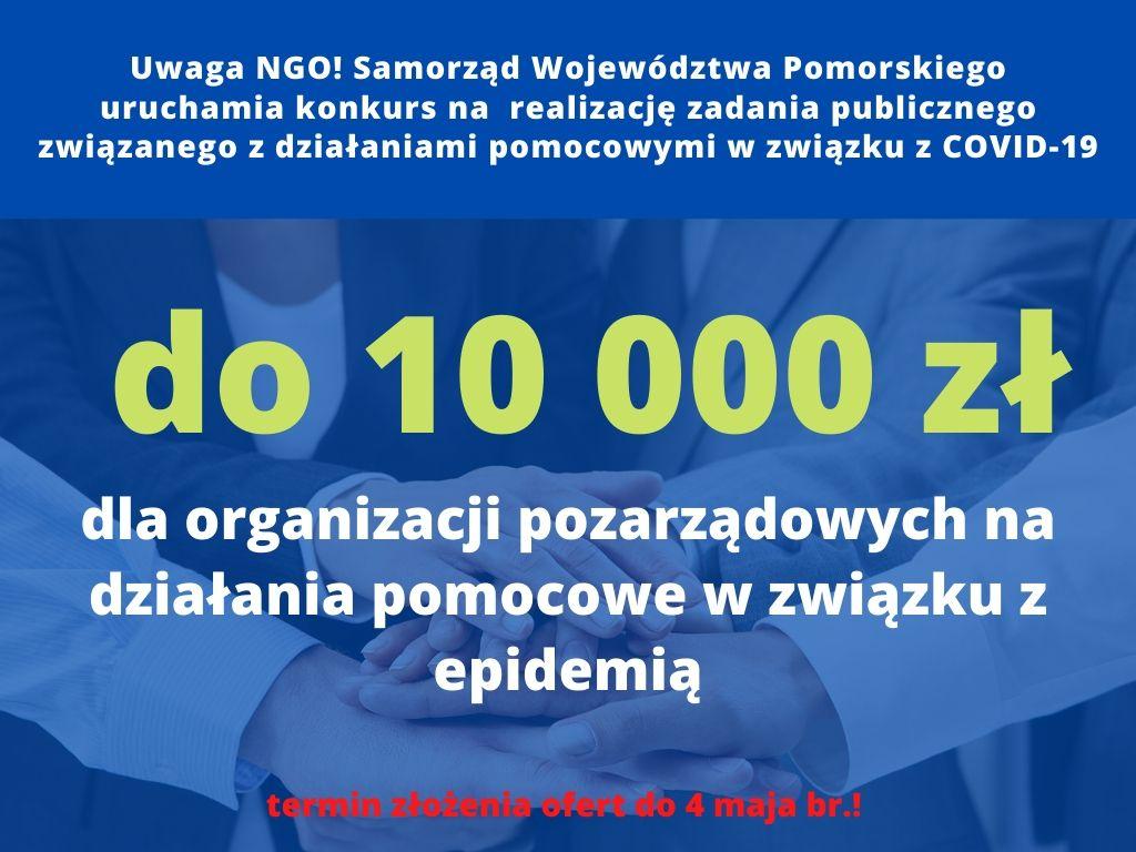 """Działasz w orgnizacji? Wystąp o środki w formie """"małych grantów"""" dla NGO w związku z COVID-19 [OGŁOSZENIE]"""