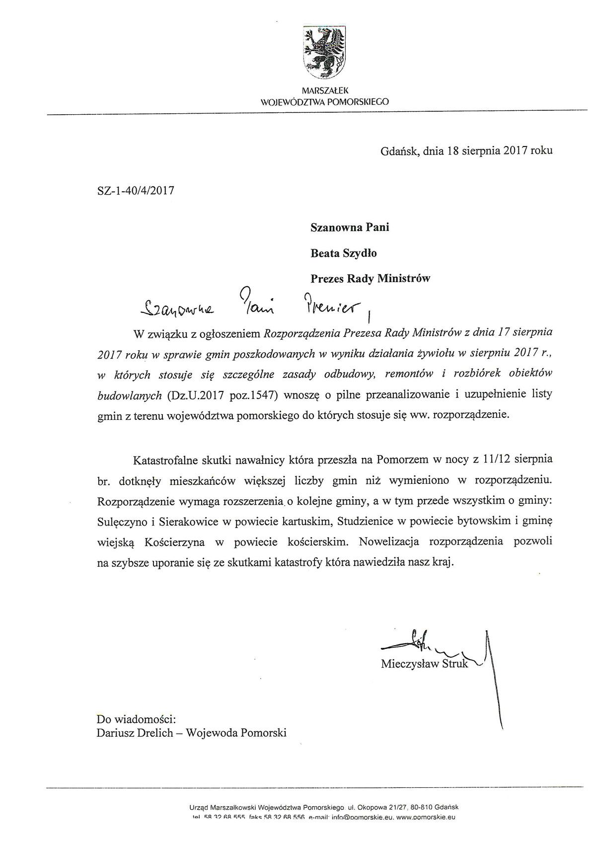 Lista marszałka Struka do premier Szydło