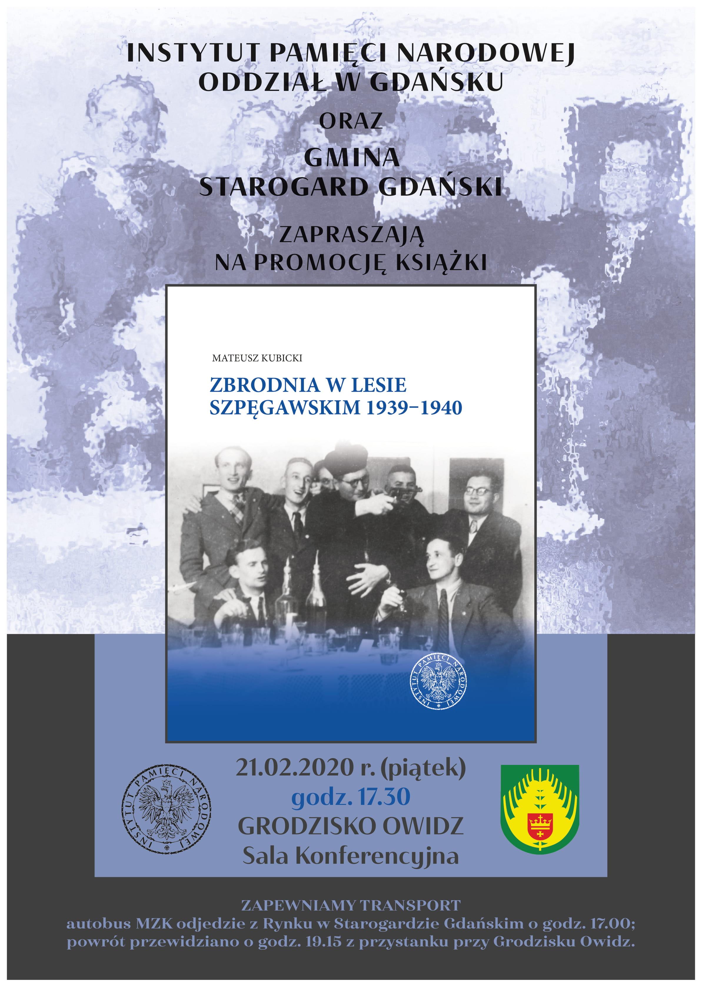Plakat - promocja książki dot. Zbrodni w Lesie Szpęgawskim