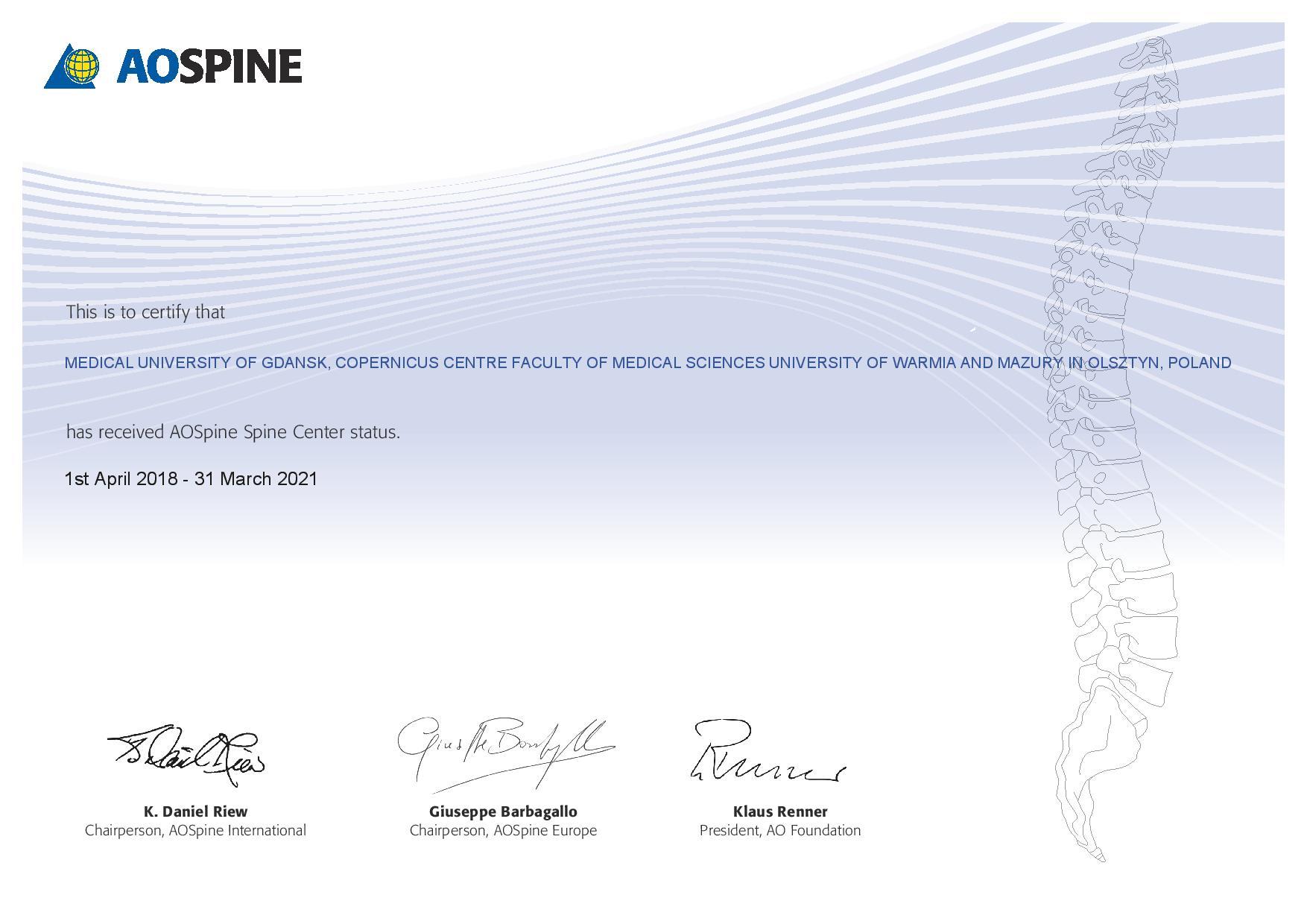 AO Spine Center_certyfikat