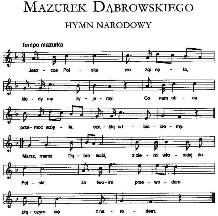 Zapis nutowy Mazurka Dąbrowskiego