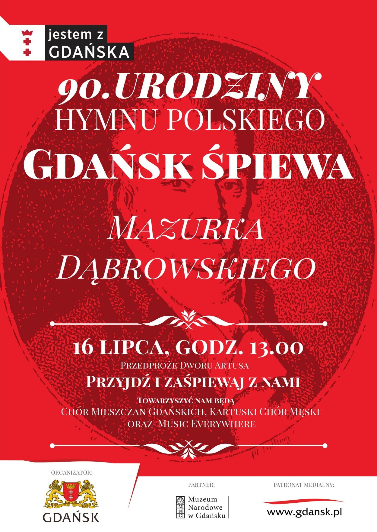 Plakat Gdańsk śpiewa Mazurka Dąbrowskiego