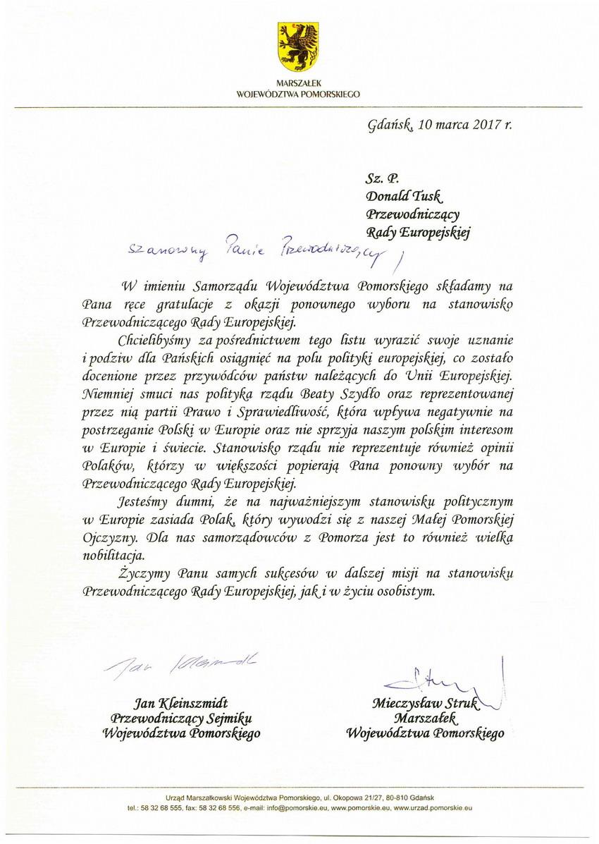 List gratulacyjny do Donalda Tuska