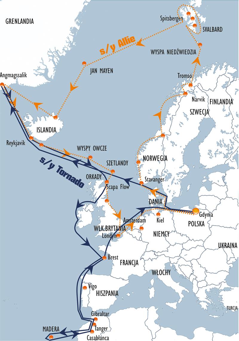Trasy rejsów Śladami Biało-Czerwonej 2018