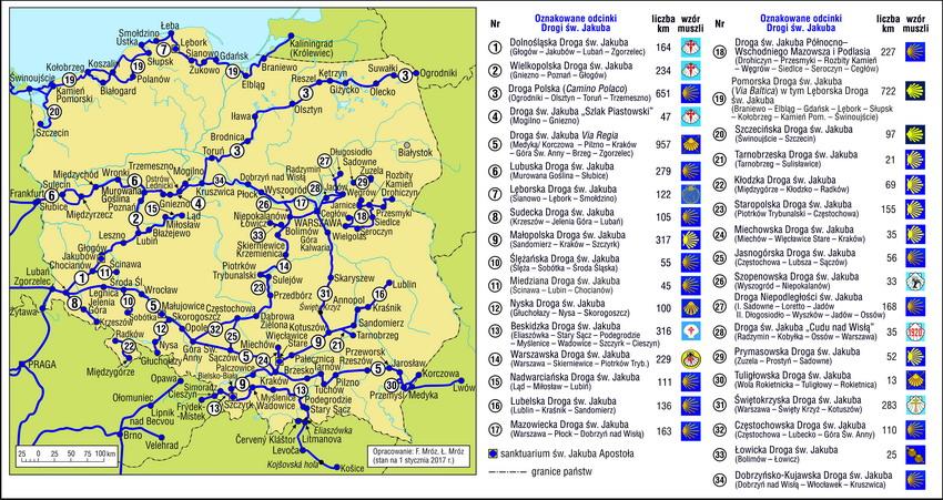 Mapa dróg św. Jakuba w Polsce