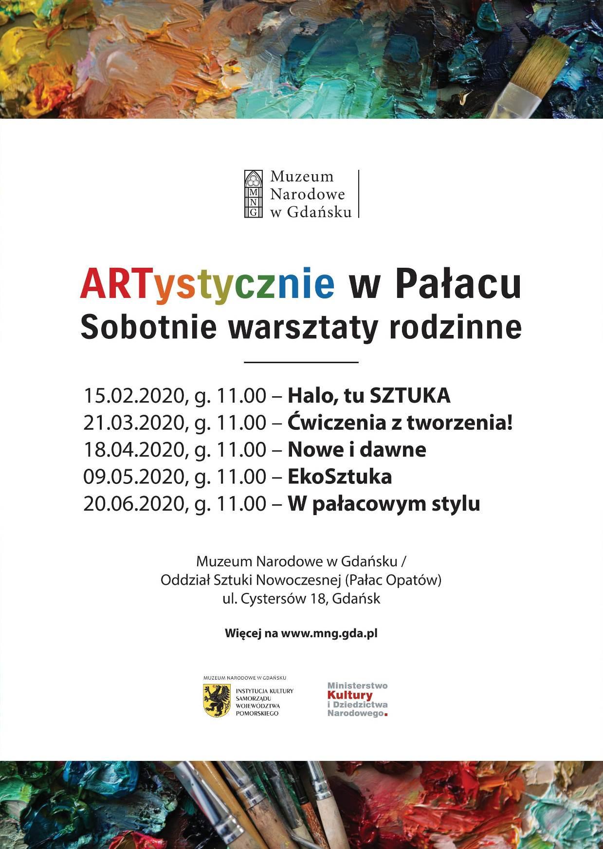 Plakat warsztatów ARTystycznie w Pałacu