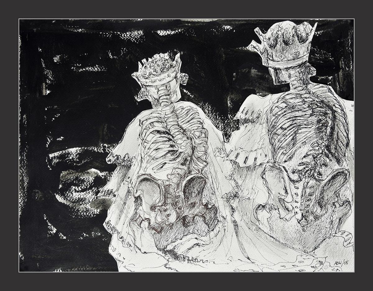 Grafika, akwarela i kolaż inspirowane Szekspirem. Pochód królów Aleksandry Baliszewskiej-Walickiej