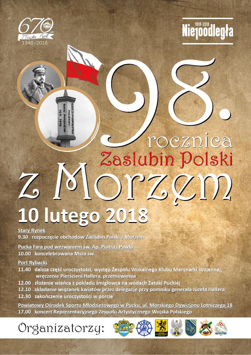 98. rocznica zaślubin Polski z morzem w Pucku - plakat