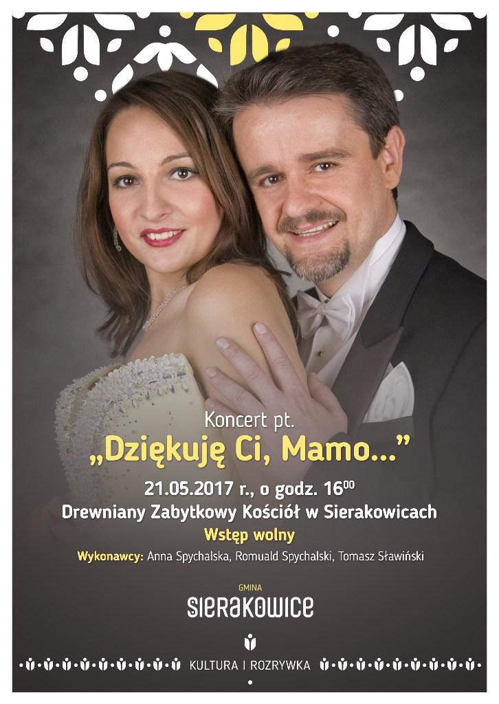 """Plakat promujący koncert """"Dziękuję Ci, Mamo..."""" w Sierakowicach"""