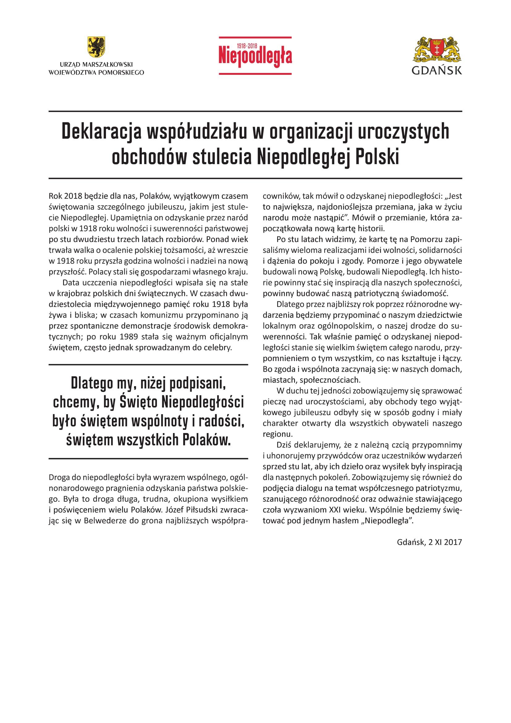 Deklaracja współudziału w organizacji uroczystych obchodów stulecia Niepodległej Polski