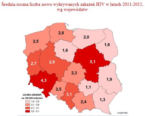 Mapa - Średnia roczna liczba nowo wykrywanych zakażeń HIV w latach 2011-2015