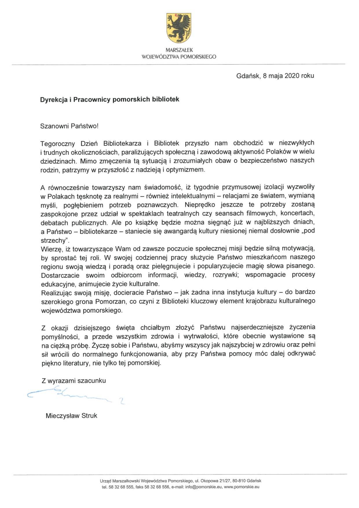 List marszałka do bibliotekarzy