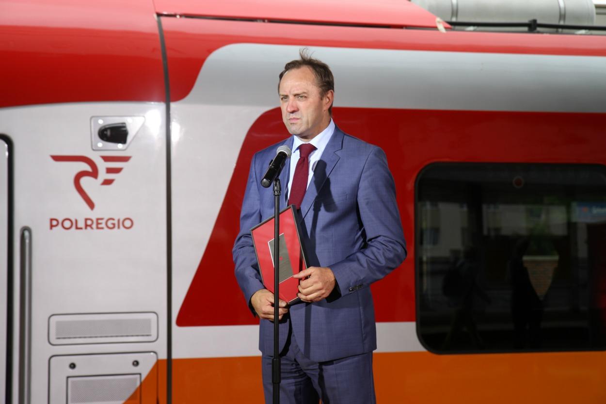 Marszałek Mieczysław Struk i nowy pociąg PESA Link