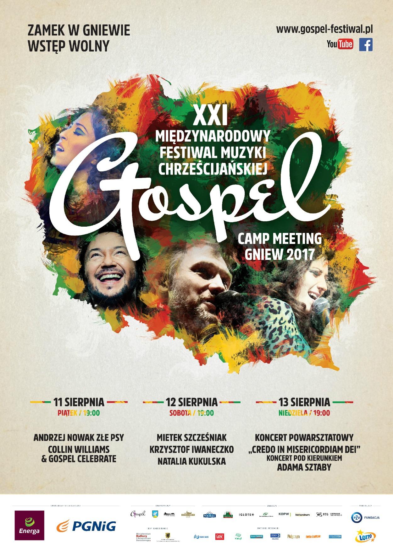 Plakat XXI Międzynarodowego Festiwal Muzyki Chrześcijańskiej Gospel 2017