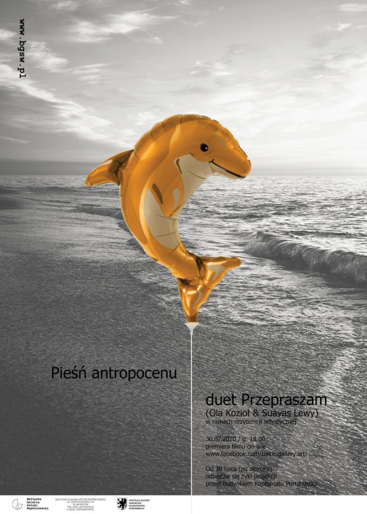 Plakat z delfinem_artyści przepraszają