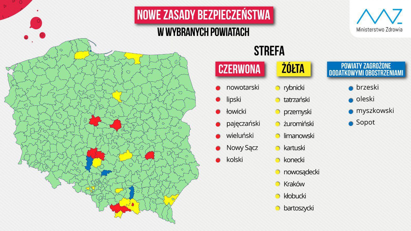 """Powiat kartuski w """"żółtej strefie"""", a Sopot zagrożony dodatkowymi obostrzeniami"""