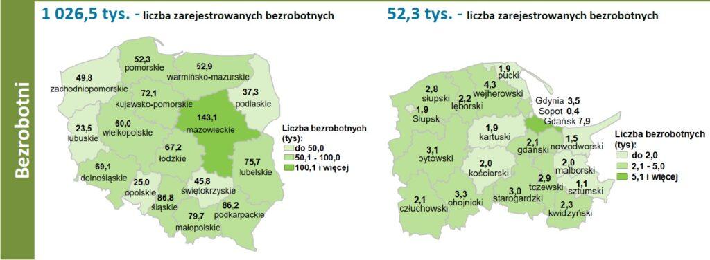 Mapa i wykresy z liczbą bezrobotnych