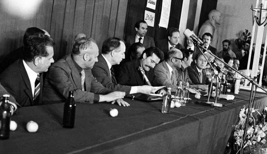 Podpisanie Porozumień sierpniowych w Gdańsku w 1980 r..