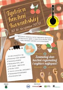 Plakat Tygodnia Kuchni Kaszubskiej organizowanego w Kościerzynie w 2020 r.