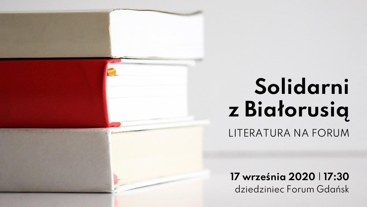 Trzy książki (biała, czerwona, biała) ułożone kolorystycznie jak flaga Białorusi