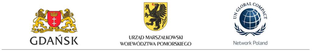 herb Miasta Gdańsk, herb Urzędu Marszałkowskiego Województwa Pomorskiego, logo UN Global Compact Network Poland