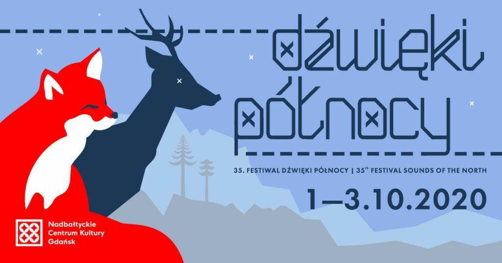 Festiwal Dźwięki Północy, plakat, renifer, lis, góry, choinki. Fot. mat prasowe NCK