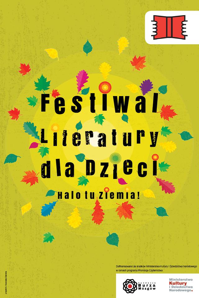 festiwal literatury dla dzieci_plakat_kolorowe_liscie i napis