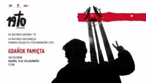 Baner upamiętniający 50. rocznicę wydarzeń Grudnia'70