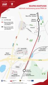 Mapka odcinka bajpasu kartuskiego realizowanego przez PKM SA