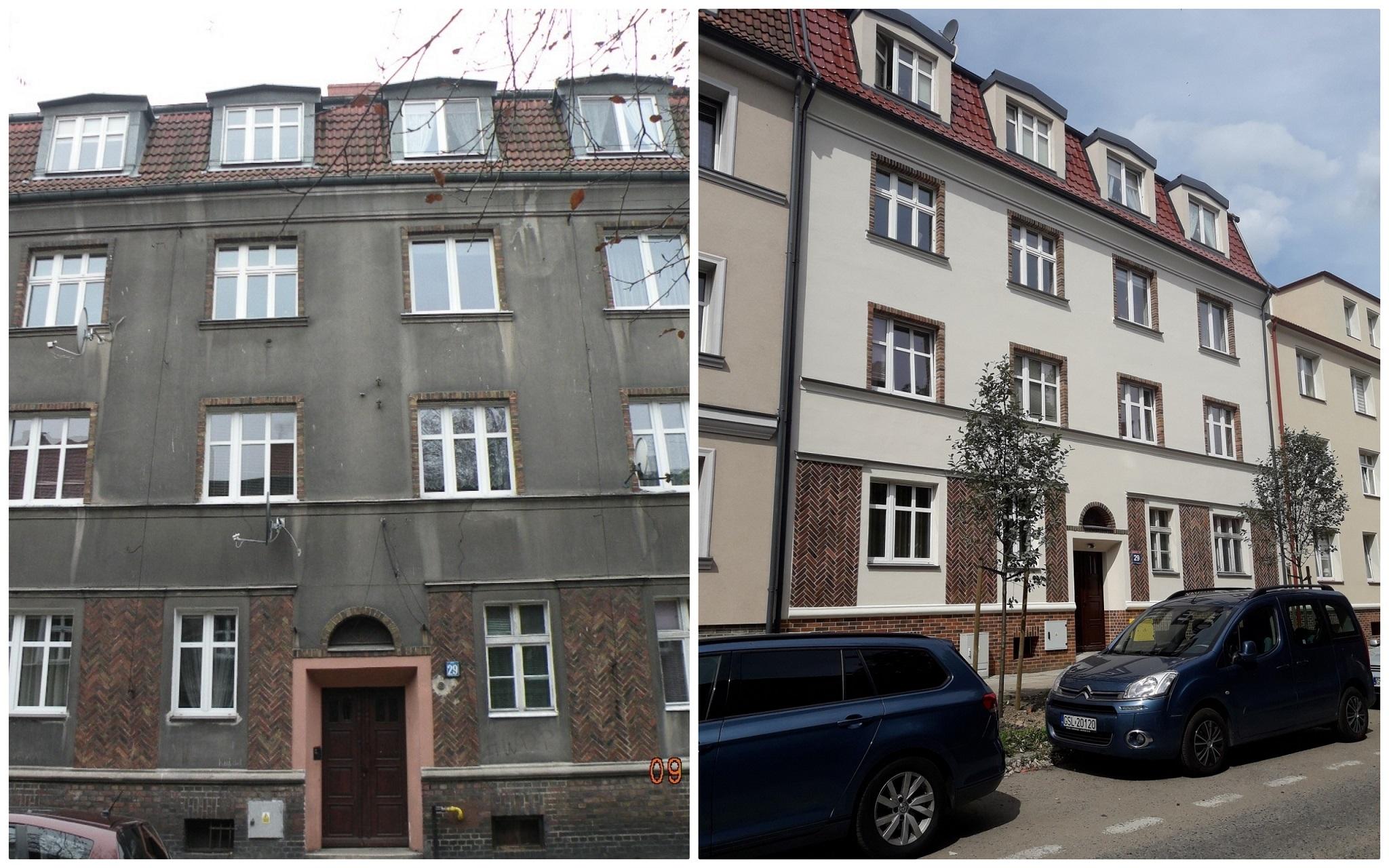 Kamienica przy ul. małachowskiego w Słupsku przed i po termomodernizacji