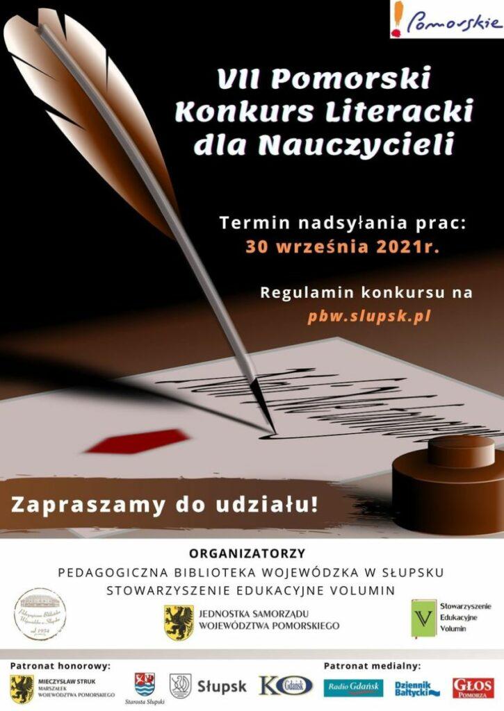Pomorski Konkurs Literacki dla Nauczycieli, plakat. Fot. mat. prasowe Pedagogicznej Biblioteki Wojewódzkiej w Słupsku