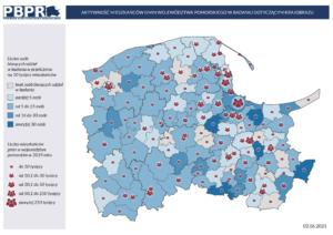 Aktywność mieszkańców gmin województwa pomorskiego w badaniu dotyczącym krajobrazu (stan na 2 czerwca 2021 r.)